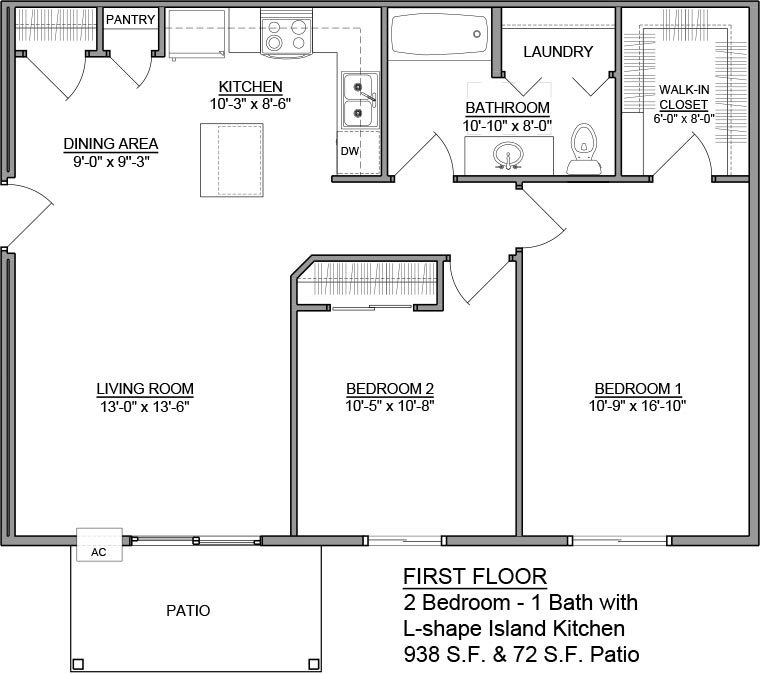 Apartment Unit C Rental Floorplan