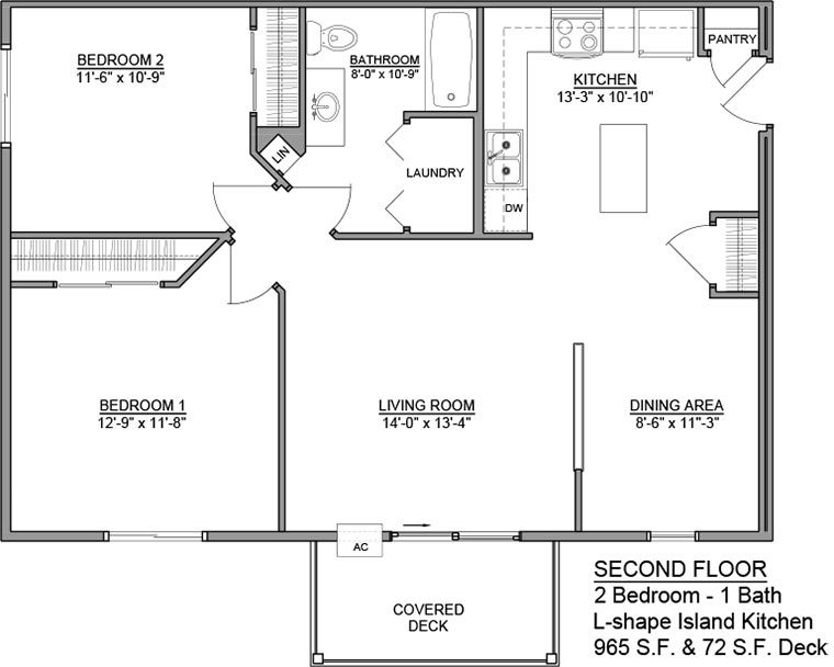 Apartment Unit D Rental Floorplan